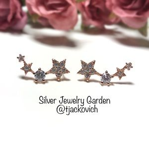 Rose Gold Sterling Silver Star Ear Climbers